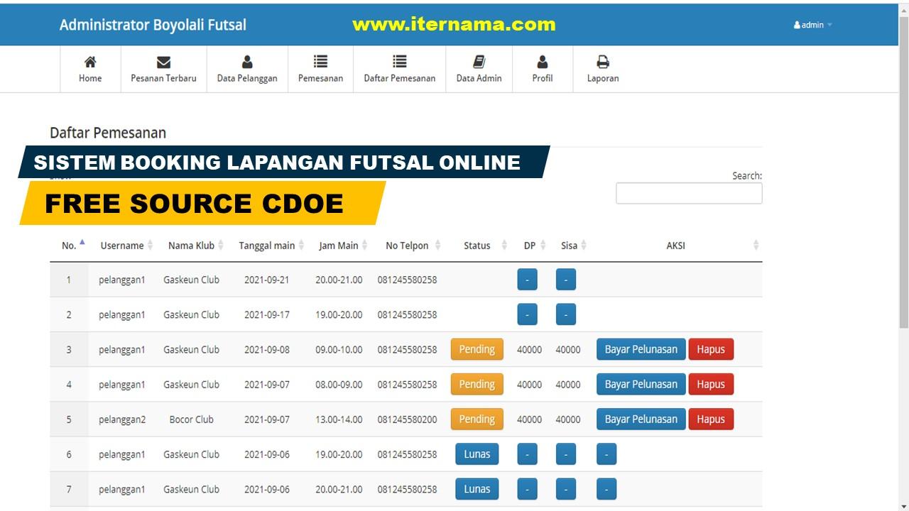 Source Code Sistem Informasi Booking Lapangan Futsal Online
