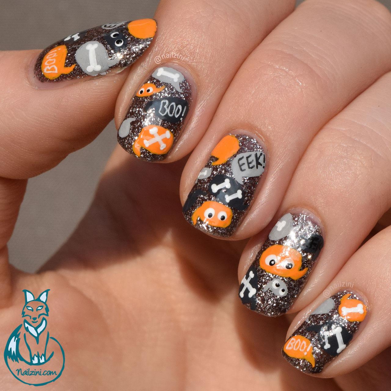 Halloween Talk Bubbles Nail Art | Nailzini: A Nail Art Blog