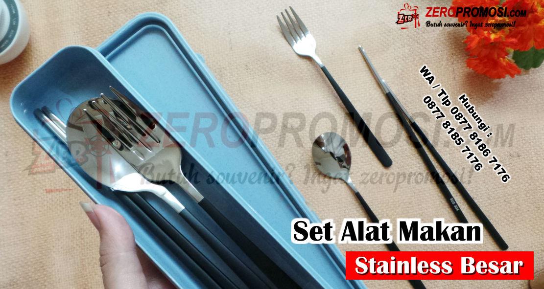 Jual Sendok Makan Nasi Stainless Rice Spoon Souvenir, Cutlery Set Alat Makan Sendok garpu sumpit + box, portable travel, Kotak Portabel Peralatan Makan, Souvenir Set Alat Makan Portable