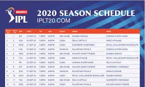 IPL 2020 Schedule Complete Time Table and Match Timings, PDF download 2020