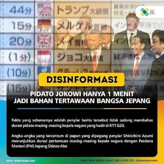 Hoax! Jokowi Pidato Hanya 1 Menit di Pertemuan KTT G20 Jepang