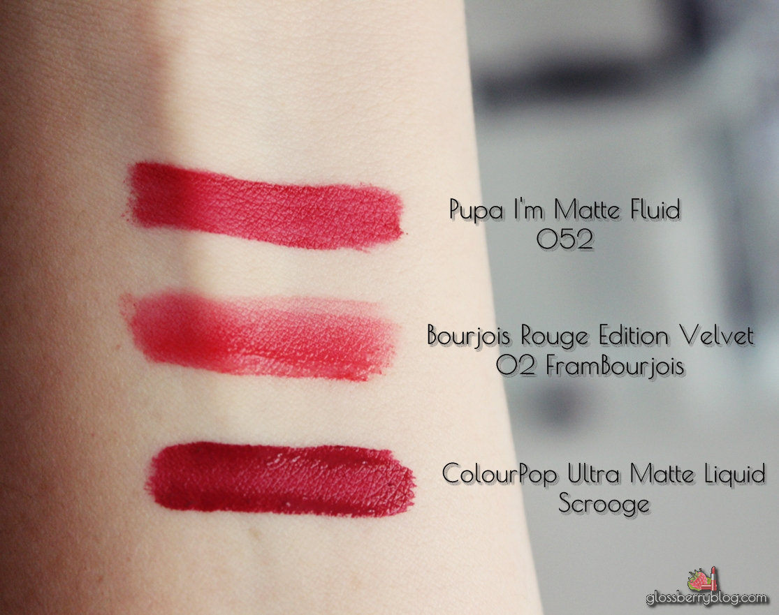 PUPA I'm Matt Lip Fluid matte liquid lipstick review swatches 052 red passion 012 sable brown lipswatch סקירה שפתון נוזלי פופה 12 52 מאט גלוסברי בלוג איפור וטיפוח scrooge colourpop ultra matte bourjois velvet edition vs comparison