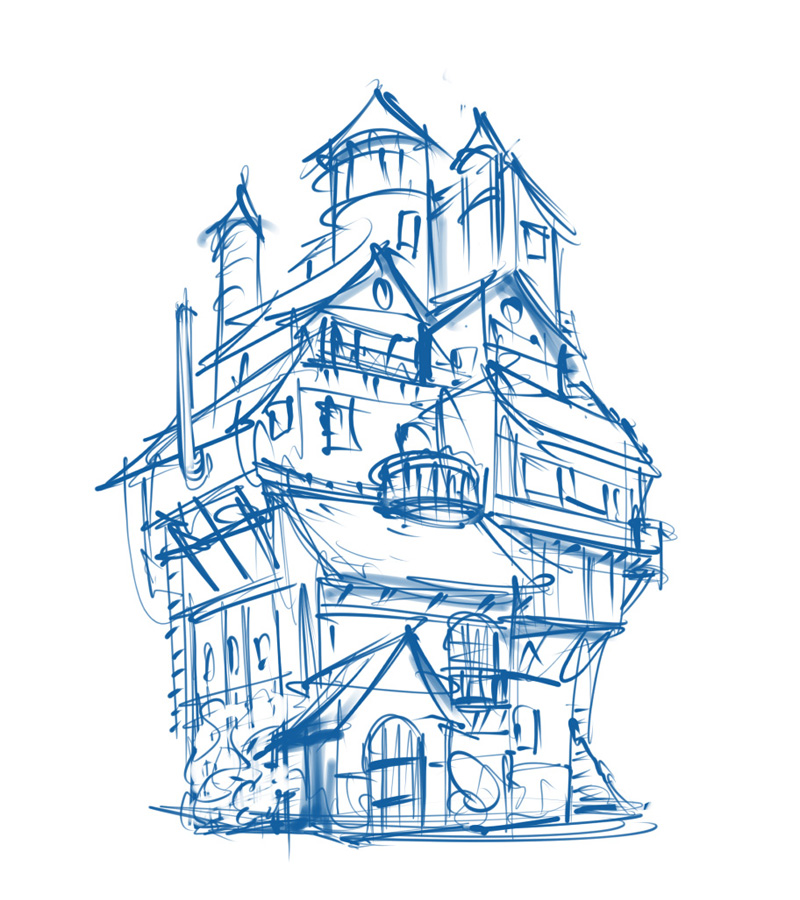 2d platform game environment castle concept sketch