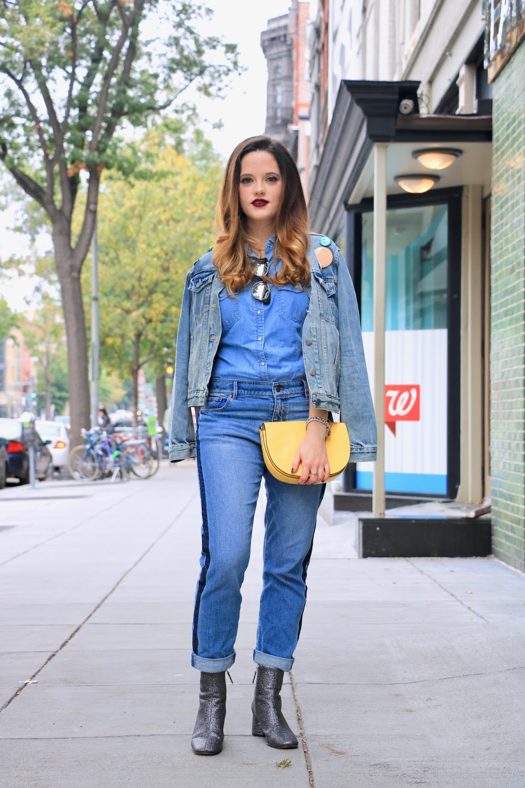 Nyc fashion blogger Kathleen Harper wearing an all denim outfit
