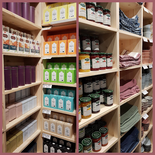 Sostrene grene shelving in store with teas coffees kitchenwares and preserves