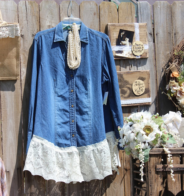 Denim shirt with vintage lace