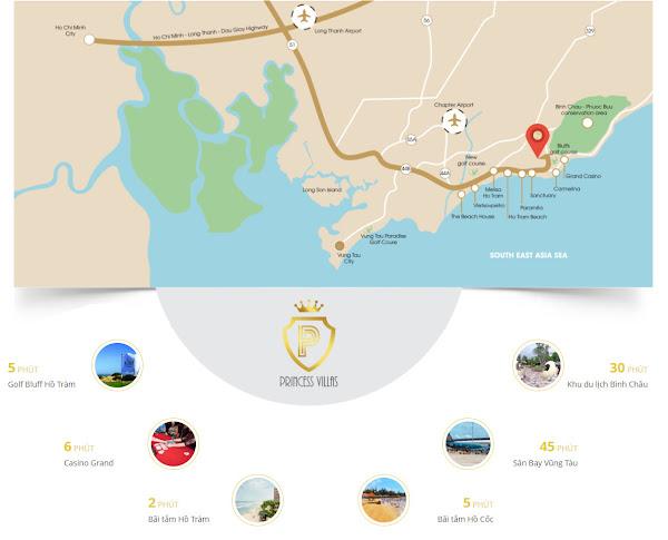 Bản đồ vị trí dự án Princess Villas Hồ Tràm, Thuộc tỉnh Bà Rịa - Vũng Tàu