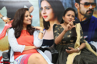 Actress Suma in Black Salwar Suit and Anusuya in orange Dress at winner movie press meet part 2 February 2017 (29).JPG