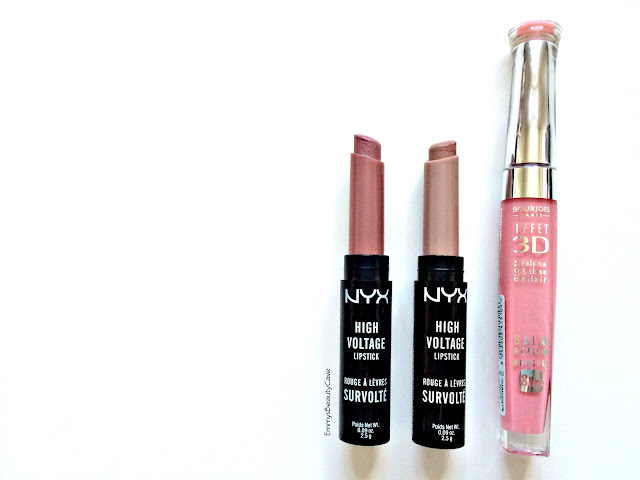 NYX High Voltage Lipsticks Stone and Flutterkiss, Bourjois 3D Effect Lipgloss