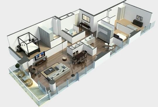 Desain Denah rumah minimalis 1 lantai ukuran 6x12
