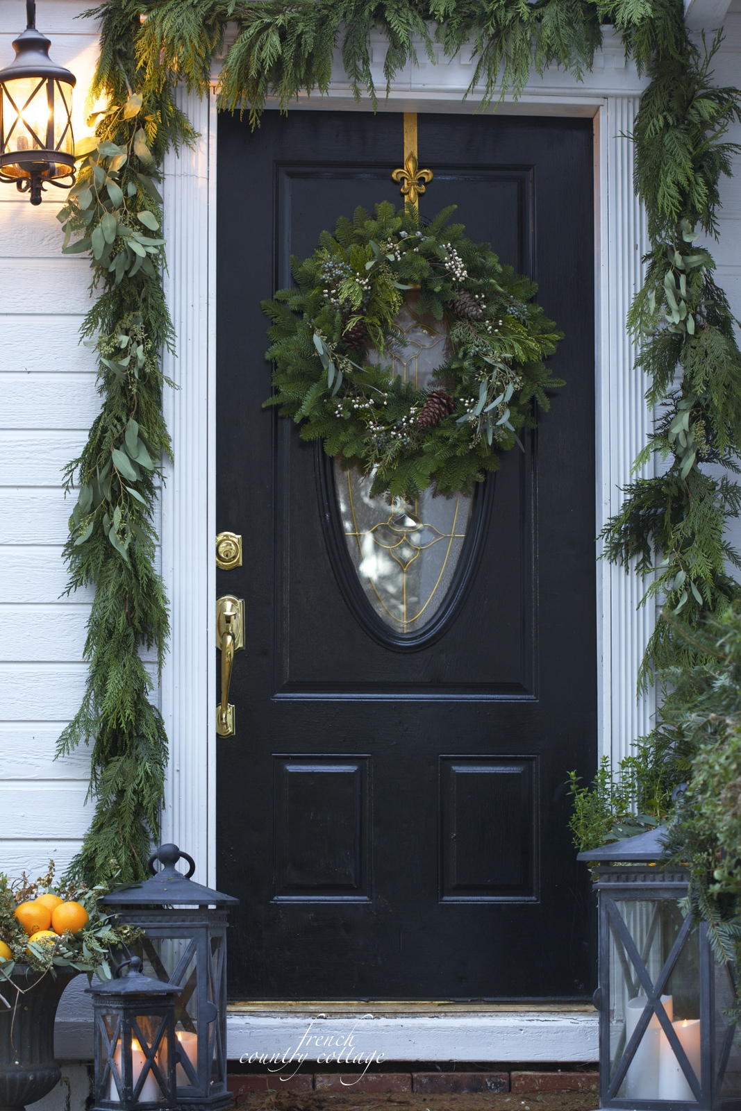 christmas front door holiday home oranges lanterns garland - Front Door Entrance Christmas Decoration