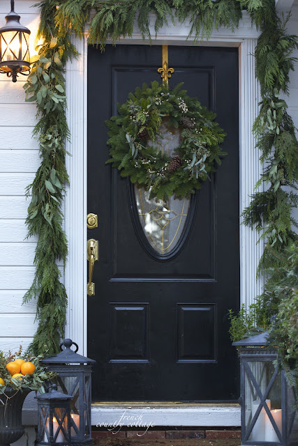 Christmas Front Door Holiday Home Oranges Lanterns Garland