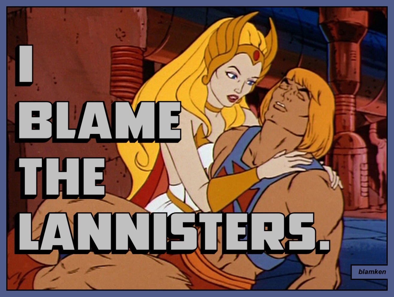 He-Man from 'Masters of the Universe' lying in the arms of She-Ra, his twin sister
