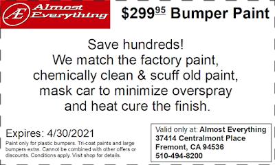 Discount Coupon $299.95 Bumper Paint Sale April 2021