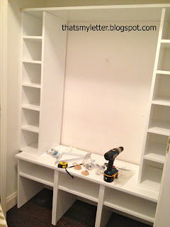 installing shoe cubbies and bench in closet