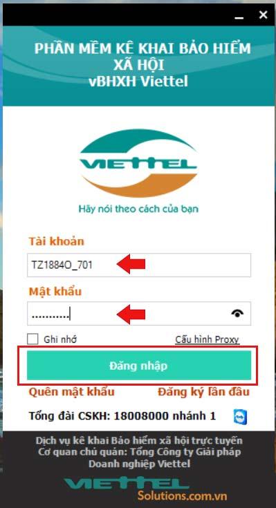Hình 1 - Đăng nhập phần mềm vBHXH của Viettel