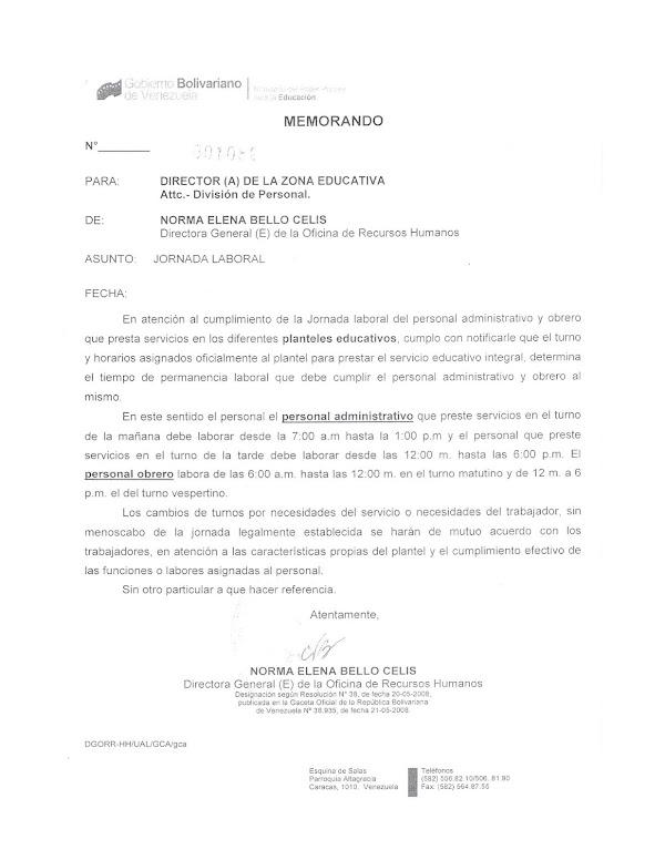 Horario Administrativos y Obreros. (DESCARGA AL FINAL LA CIRCULAR)
