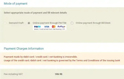 select mode of payment