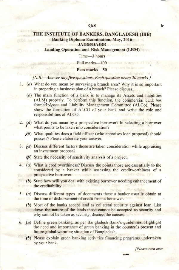 lending operation and risk management question banking  banking diploma examination 2015