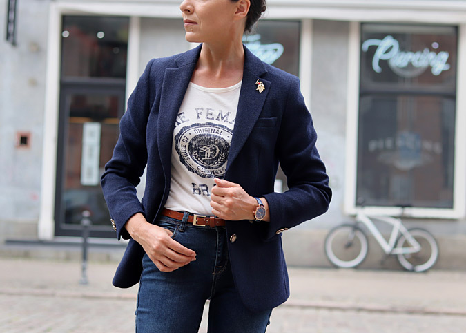 marynarka t-shirt damski stylizacje