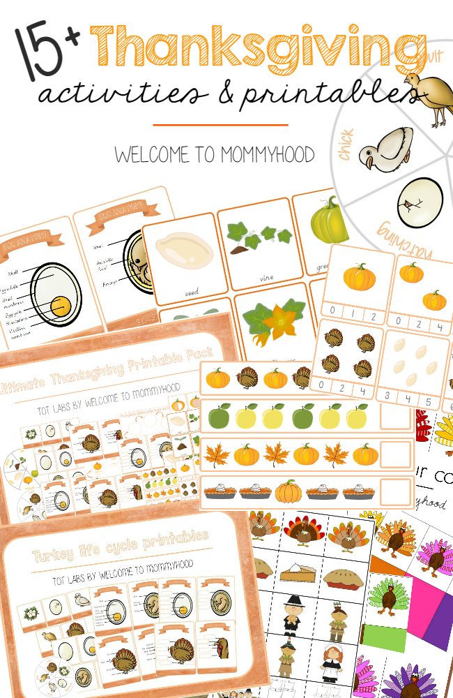 Over 15 Thanksgiving activities and printables by Welcome to Mommyhood for preschoolers and toddlers  #montessori, #preschoolactivities, #preschoolthanksgivingactivities, #thanksgivingactivities