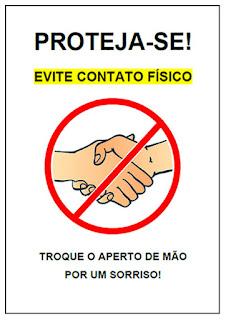 placa de aviso corona vírus não de a mão