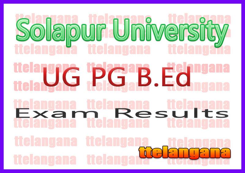 Solapur University UG PG B.Ed Semester 1st 2nd 3rd 4th 5th 6th Result