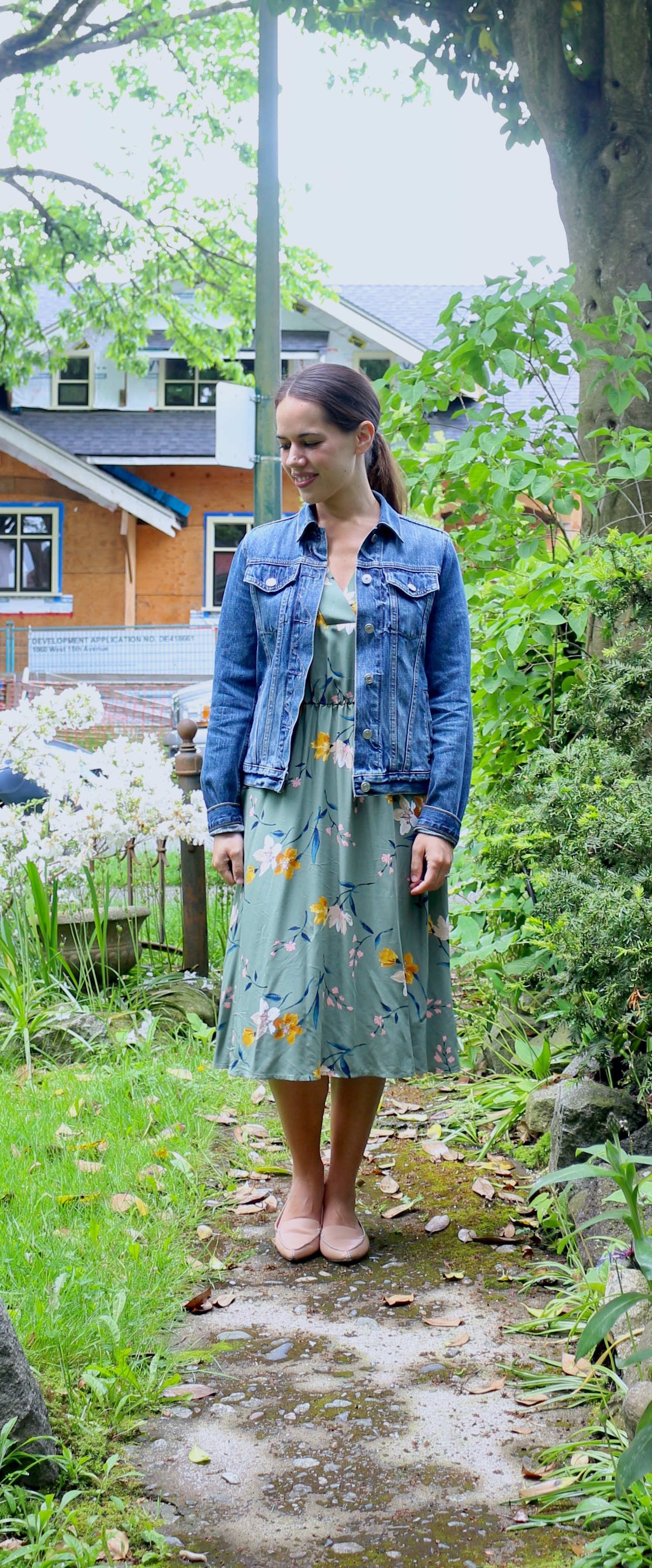Jules in Flats - Floral Midi Dress with Denim Jacket (Easy Work from Home Outfit)