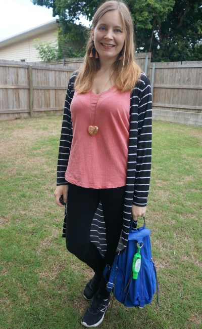 pink tee and tassel earings to add colour to monochromatic black and white stripe duster and skinny jeans outfit | awayfromblue