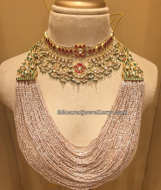 Rice Pearls Necklace Kundan Choker