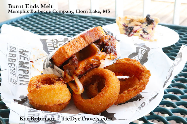 A burnt ends melt sandwich and onion rings from Memphis Burger Company in Southaven, MS.