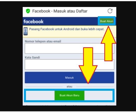 Membuka situs resmi facebook untuk daftar fb
