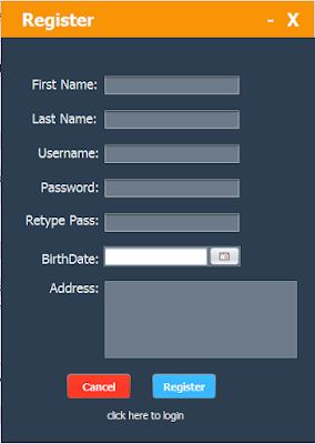 java design sign up form