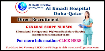 Staff Nurse needed Al Emadi Hospital Qatar