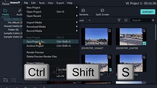 دورة تعلم وشرح filmora9 كيفية حفظ المشروع للتعديل عليه في وقت لاحق save your video as a project file