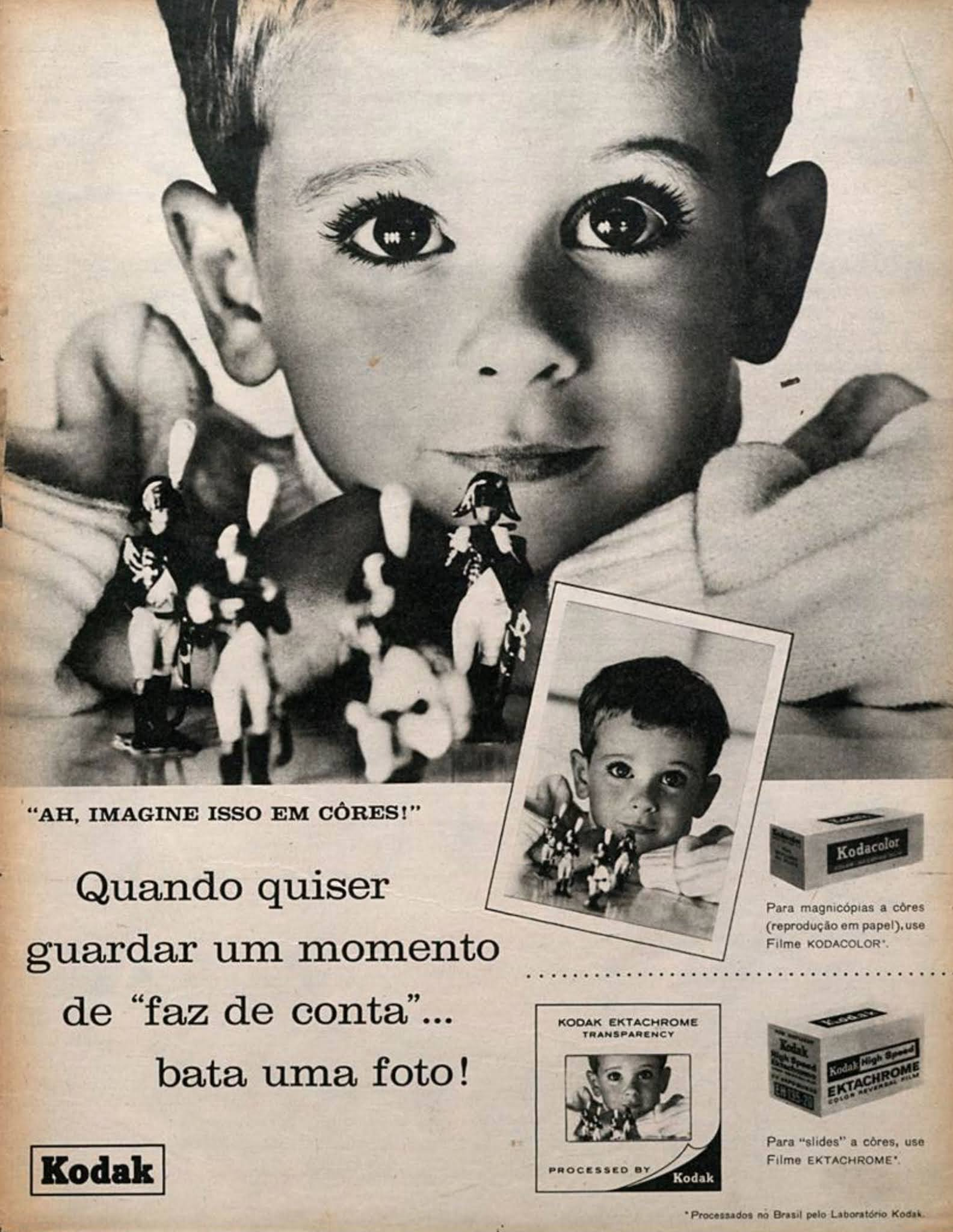 Propaganda antiga da Kodak promovendo filmes fotográficos em 1964