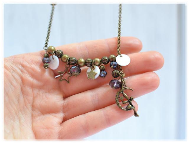 pendentif sautoir féerique bronze vieilli et violet