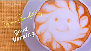 simple good morning wishes smile cappuccino cup.