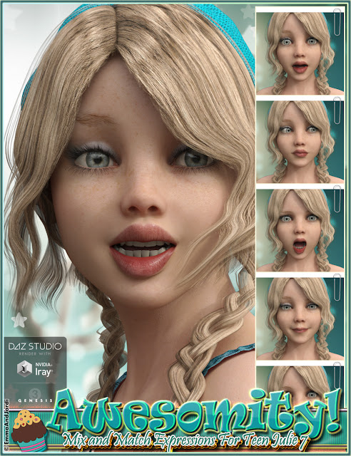 http://www.daz3d.com/awesomity-mix-and-match-expressions-for-tween-julie-7-and-genesis-3-female-s