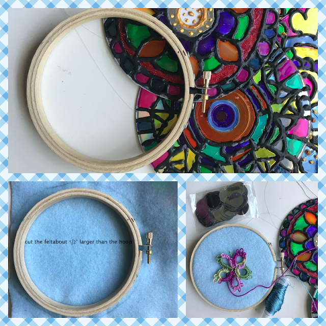 designing embroidery hoop tatting