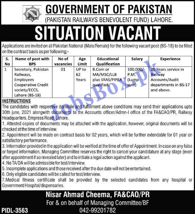 Pakistan Railway Jobs 2021 - Beneficiary Fund Jobs 2021-  Latest Job Advertisement Of Pakistan Railway Beneficiary Fund 2021