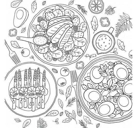 Tranh tô màu những món ăn