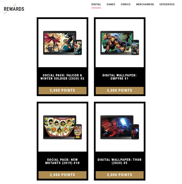 An image showing some rewards provided by Marvel Insiders