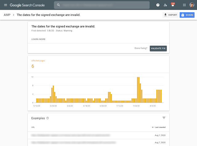 Signed exchange report in Search Console
