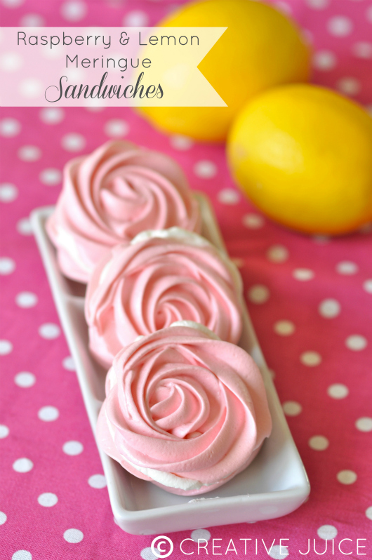 Raspberry & Lemon Meringue Sandwiches Recipe - via BirdsParty.com
