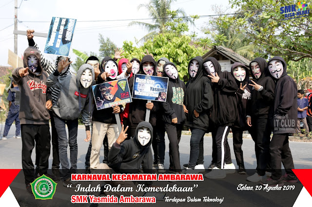 Karnaval HUT RI Ke 74, TKJ SMK Yasmida Angkat Tema Anonimous