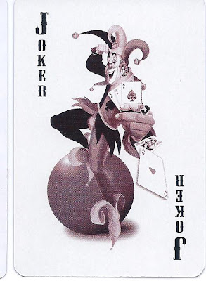 playing card joker on a yoga ball