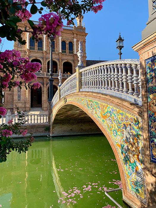Vista del estanque de la Plaza de España