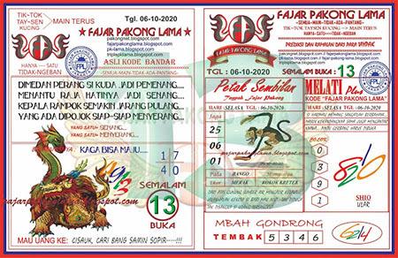 Prediksi Fajar Pakong Lama Selasa 06 Oktober 2020