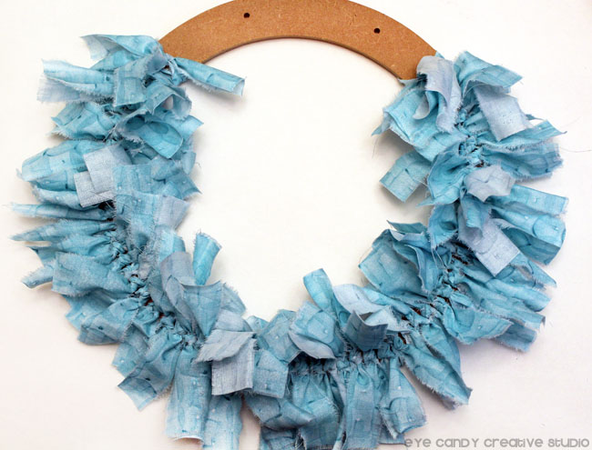 shabby fabric strips, rag wreath steps, how to make a rag wreath
